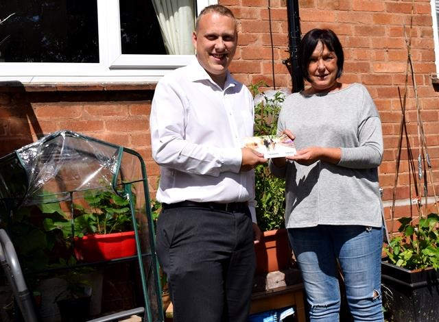 Housing Executive Luke Fearnall and Moira, our June Direct Debit winner!